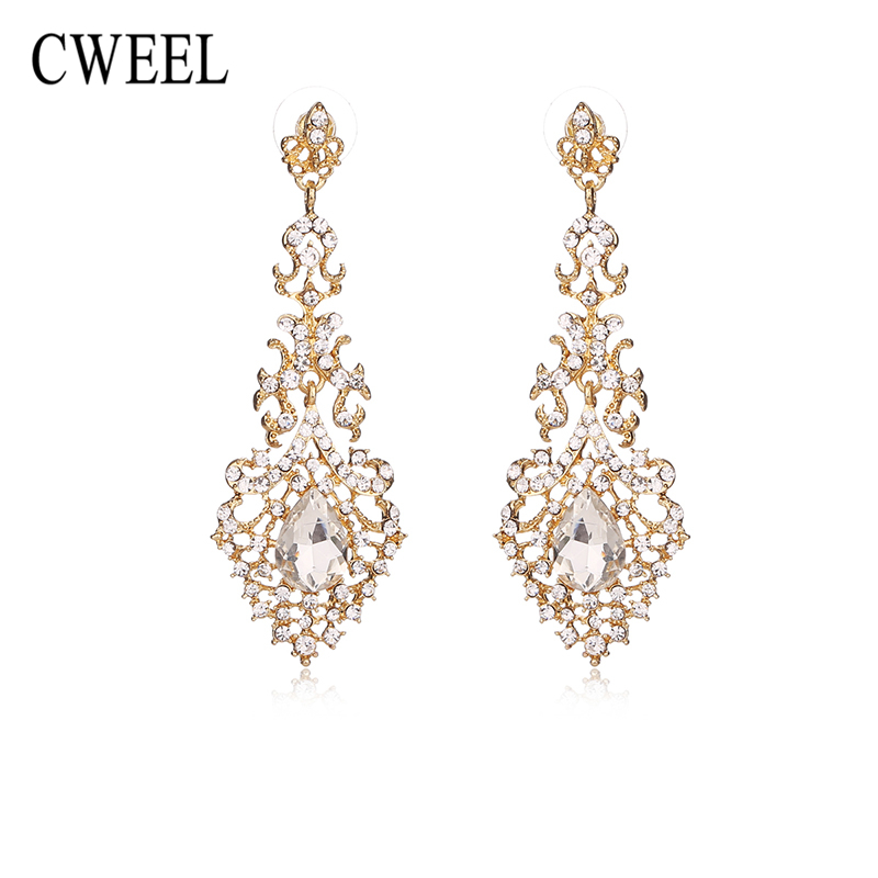 2018 Cweel Created Crystal Dangle Earrings For Women Wedding Party