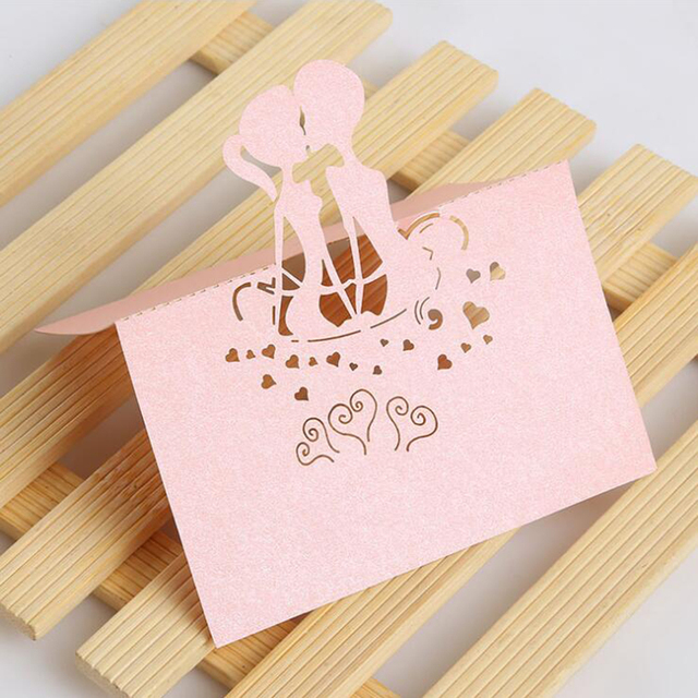 50pcs Creative Wedding Table Cards Laser Cut Pearled Paper Place