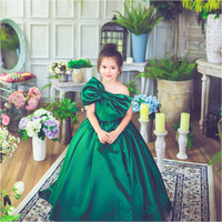 The girl re employed legislation emerald one shoulder large bow long mop style party dress