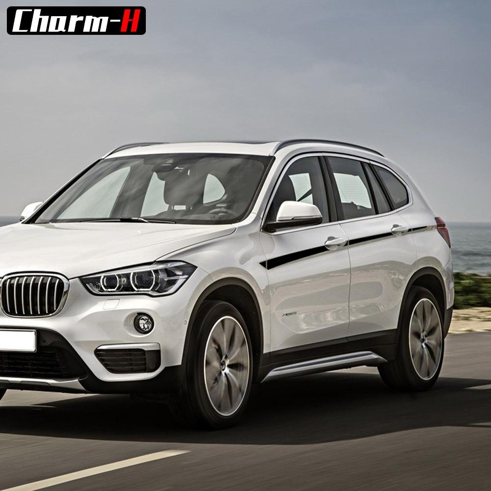 M Performance rayures d'accent pour BMW X1 F48 bande latérale graphique voiture style tour de taille vinyle autocollants accessoires