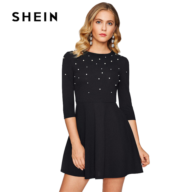 SHEIN Pearl Embellished Fit And Flare Dress,2017 Fashion Autumn Women's Elegant Black Dresses,A Line Round Neck Clothing
