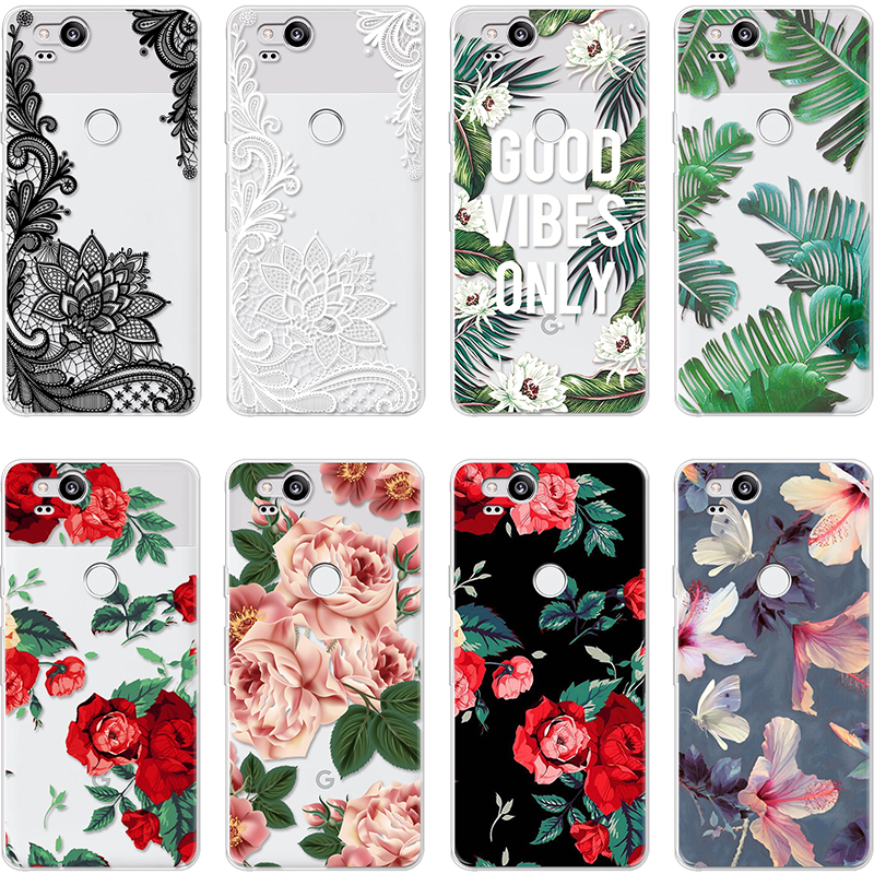 Phone Cases Luxury Flower Leaves For Google Pixel 2 3a XL Fundas Cover Thin Soft TPU Coque For Google Pixel 3 XL Silicone Case
