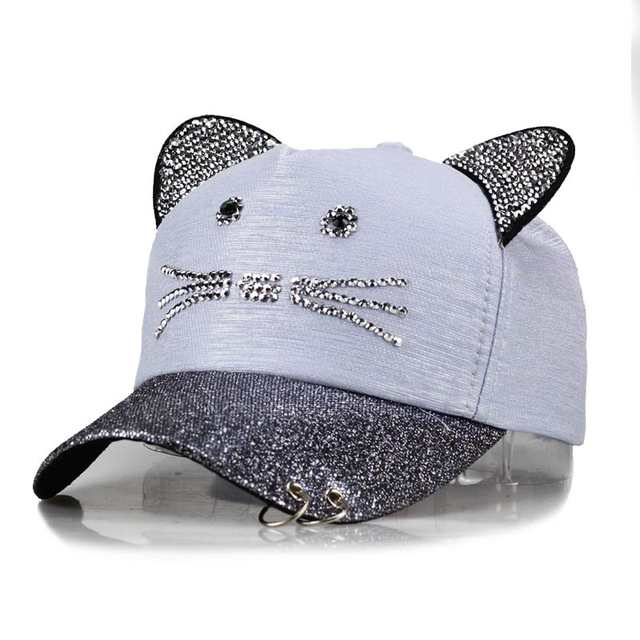 b1a9bd5192d Online Shop meow Women s Summer fall Pink hat Cat ears Cat Baseball cap  with rings and lace Diamond cute girl hat