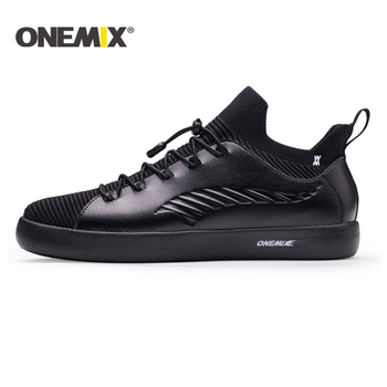 ONEMIX Classics Skateboarding Shoes for Men Sneakers Grey Light Trekking Shoes Leather Comfortable Outdoor Walking Jogging Shoes