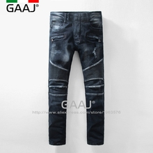Famous Fashion Designer Brand Men Jeans Men's Fashion Runway Biker Slim Stratch Washed Denim Jeans Dark Blue Pants Long Trousers(China)