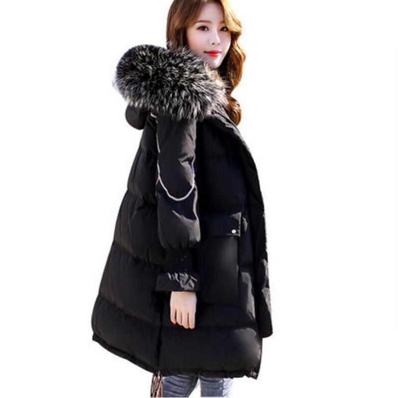 New Plus Size Womens Down Jacket Thick casaco feminine Woman Warm Coat Big Fur Collar Hooded Female White Duck Down Coats 8L72