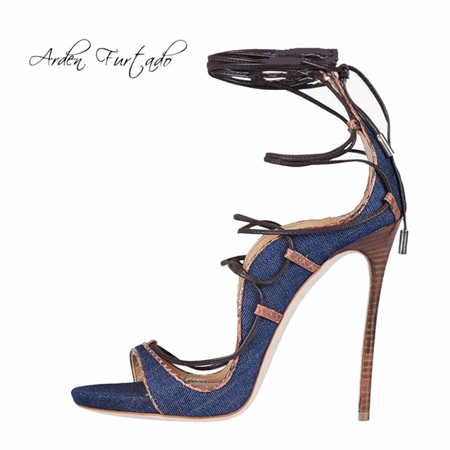 2017 ankle jeans heels summer girls toe high strap sandals peep RRTvxS