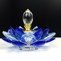 Free Shipping Rainbow Crystal Perfume Bottle Lotus Flower Glass Oil Bottle Refillable Gift For Lady