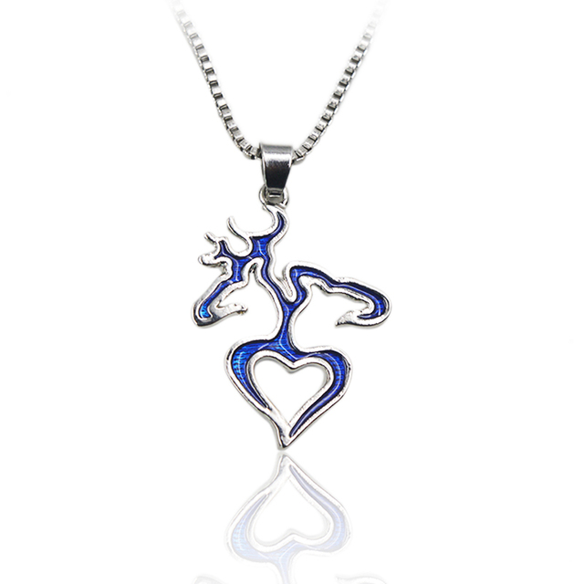 Bule Mirror Browning Inspired Deer Heart Acrylic Necklace Set