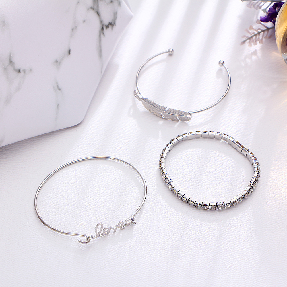 Cuteeco 3 Pcs set Bohemian Retro Charm Leaves Love Crystal Elasticity Bracelet Party Wedding Women Jewelry Accessories AE100 in Bangles from Jewelry Accessories