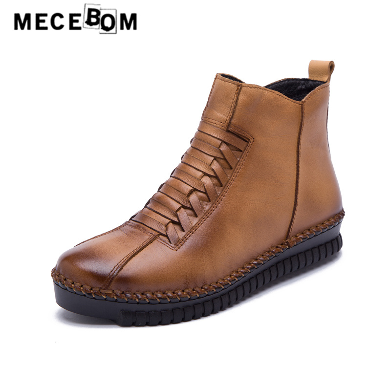 Women retro boots qualtiy genuine leather ankle boots new winter plush warm lady shoes big size