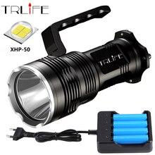 ไฟฉาย LED Super Bright XHP50 USB ชาร์จที่มีประสิทธิภาพแบบพกพาไฟ LED Searchlight Flash Light โคมไฟ 4*18650 แบตเตอรี่