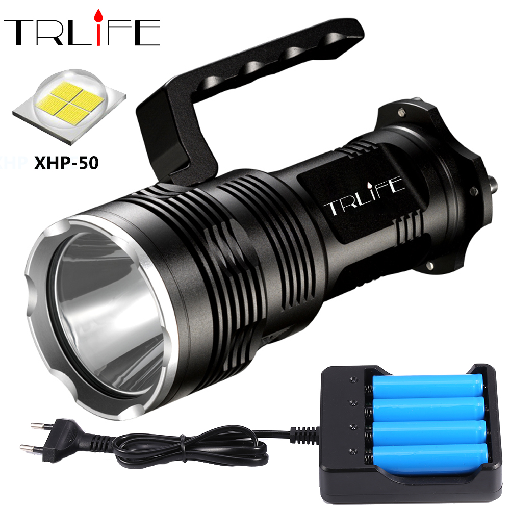 Super Bright LED Flashlight XHP50 USB Rechargeable Powerful Portabl Light LED Searchlight Flash Light Lamp By 4*18650 Battery