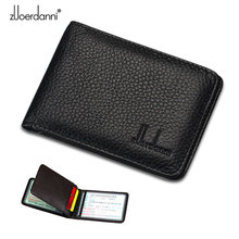 Zuoerdanni Genuine Leather Mens and Womens Tri-View driving license bag ID Holder Card with 3 Windows 2 card slots