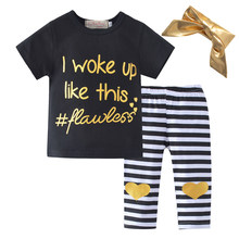 Newborn Baby S Clothes Sets Tops Short Sleeve Golden Letters T Shirt Pants Headbands 3pcs Cotton Outfits Clothing Set