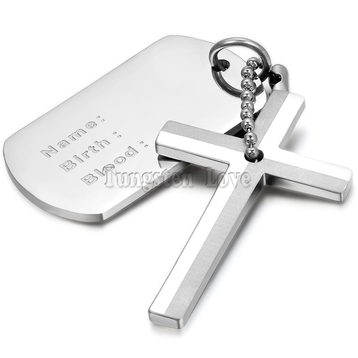 New stainless steel necklaces men dog tag with cross pendant new stainless steel necklaces men dog tag with cross pendant necklace 22 inches silver fashion collar masculino in pendant necklaces from jewelry aloadofball Gallery