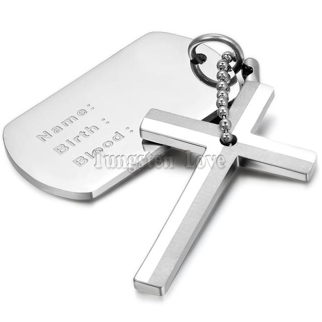 New stainless steel necklaces men dog tag with cross pendant new stainless steel necklaces men dog tag with cross pendant necklace 22 inches silver fashion collar audiocablefo