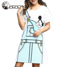 2019 Summer Dress For Women Print Mickey Mouse Clothes White Plus Size Short Sleeve Cute Cartoon Casual Dress Streetwear Dresses