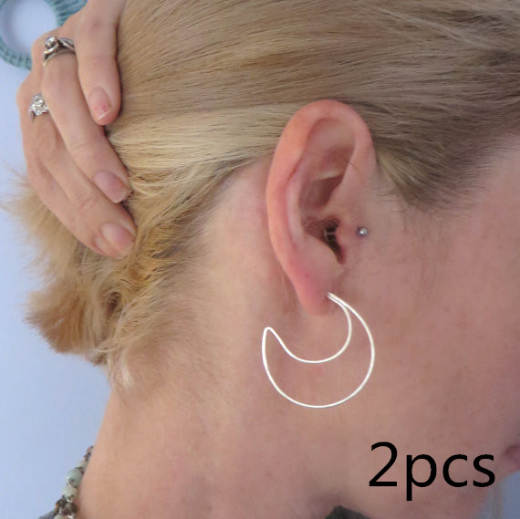 2pcs  Crescent Moon Hoop Earrings Handmade Rose  Filling Modern Fashion Gypsy Jewelry  present for women