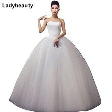 2019 ชุดเจ้าสาวลูกไม้ชุดเจ้าสาว ชุดแต่งงาน ราคาถูกคนดังที่ไม่มีสายหนังสีขาว