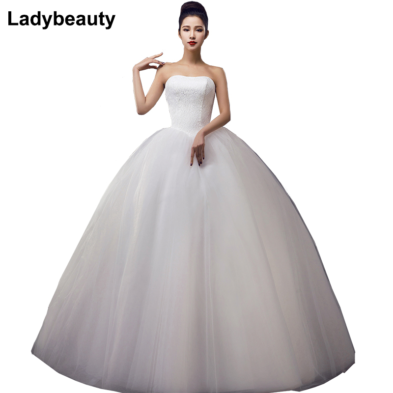 Custom Made Bröllopsklänningar 2018 Cheap Celebrity Strapless White Tulle Bridal Ball Gown Lace Bridal Gown Casamento