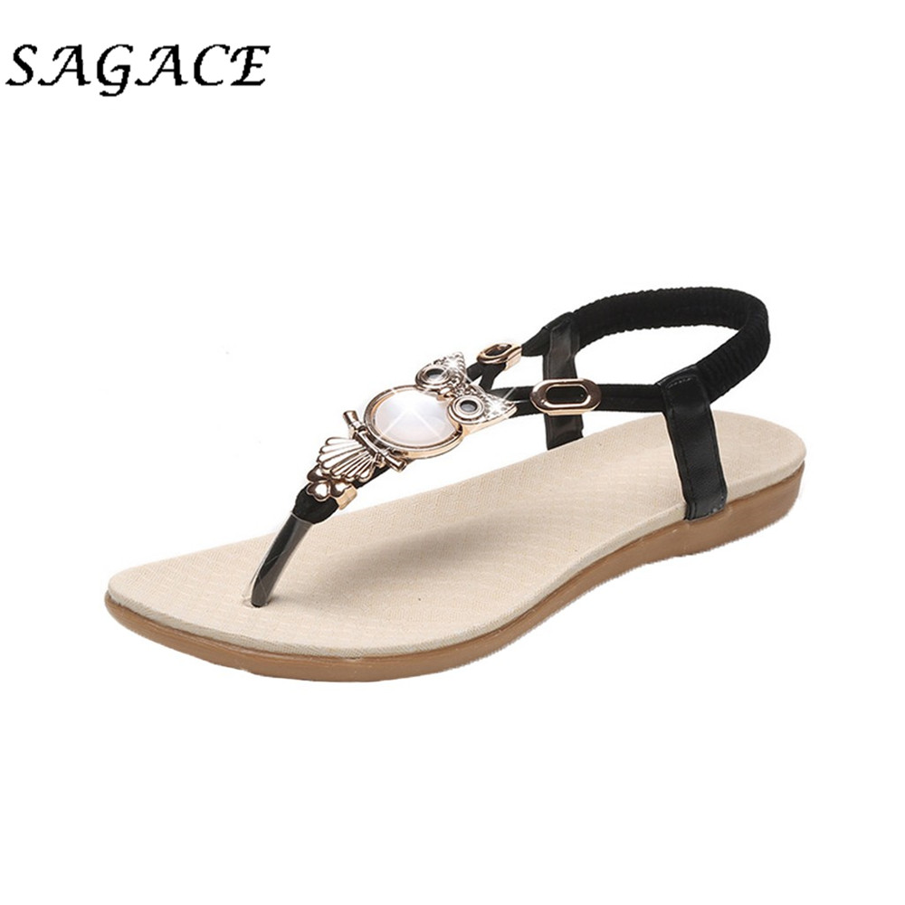 SAGACE Shoes Flat Sandals Rubber Elastic-Band Rhinestone Women Casual