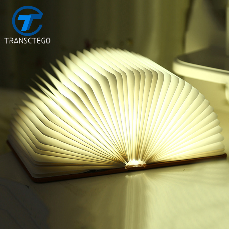 TRANSCTEGO Mini USB Night light charging large star gift lamp rechargeable LED folding book lights color Fashion Book lamps three dimensional 3d visual reading lights wood acrylic clear small lamp button type led stereo night light folding book lights