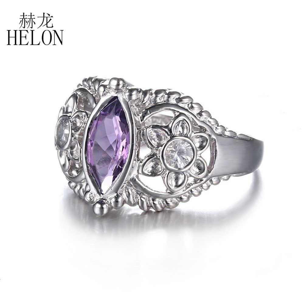 HELON 925 Sterling Silver 10x5mm Marquise 1.22ct Amethyst & White Topaz Engagement Wedding Ring Exquisite Flowers Jewelry Ring