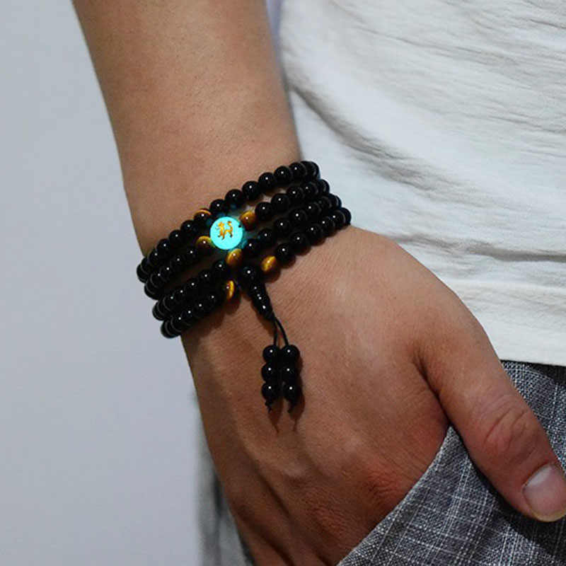 Black Buddha Beads Bangles & Bracelets 108 Beads Guru Handmade Jewelry Ethnic Glowing in the Dark Bracelet for Women or Men