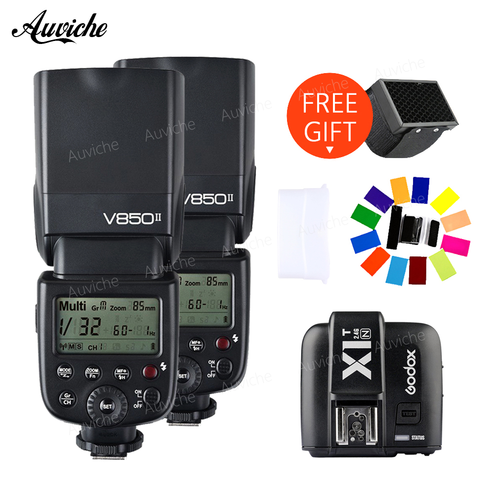 Godox V850 V850II Wireless HSS Flash Speedlite Lithium-ion Battery with X1T-N Wireless transmitter for nikon camera Godox Flash godox v860iic v860iin v860iis x1t c x1t n x1t s hss 1 8000s gn60 ttl flash speedlite 2 4g transmission godox softbox filter
