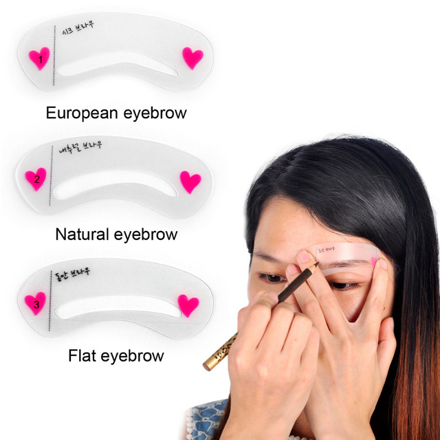 3pcs Pro Reusable Eyebrow Stencil Set Eye Brow DIY Drawing Guide Styling Shaping Grooming Template Card Easy Makeup Beauty Kit