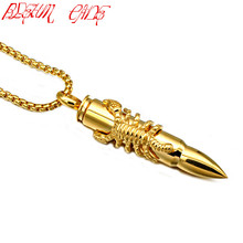 BLEUM CADE Punk Rock Stainless Steel Animal Scorpion Bullet Pendant Necklace for Men Jewelry