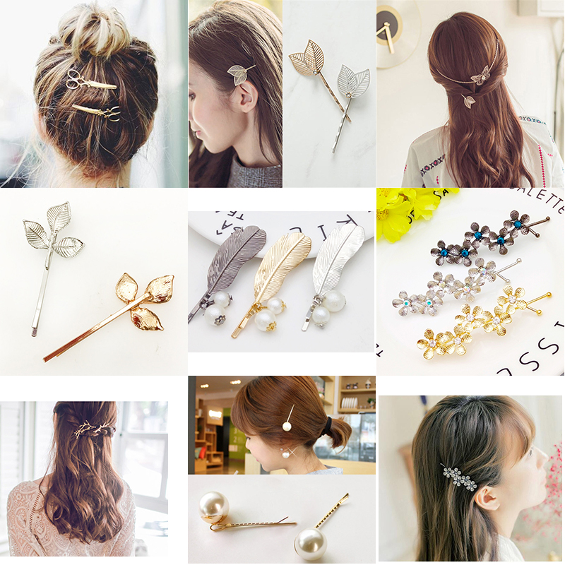 Fashion Bobpin Hair Barrette Bobby Pin Hairpins Hair Clips Accessories Women Girls Hairgrip Hairclip Wedding Ornaments   Headwear