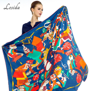 Image 1 - 2020 Big Square Joker Silk Print shawl Ladies New Fashion Cartoon Shawl Scarf Twill Blue scarfs Wholesale 130*130CM Wholesale