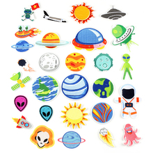 Alien Star Patches Iron on Transfer Fabric Cloth Embroidery Small Patch Kids Applique Sew Badges for Bags