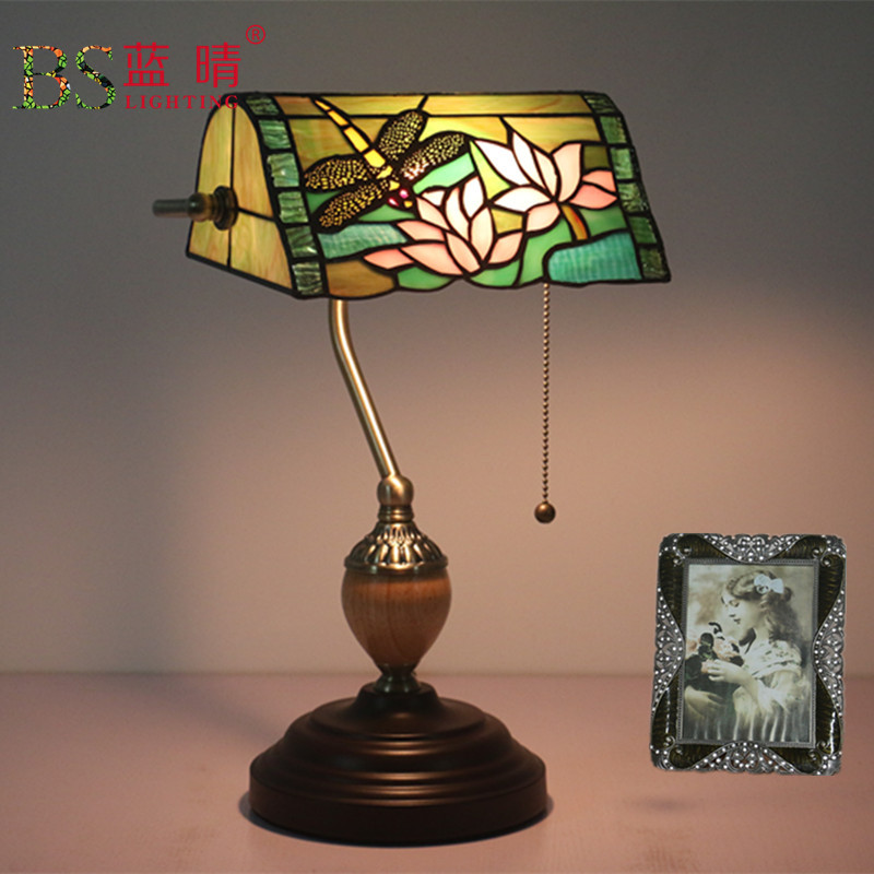 Antique Nordic Art Deco Turkish Mosaic Rustic Stained Glass Red Bedroom Bedside Desk office Table Lamp Light For Living Bed Room shelf