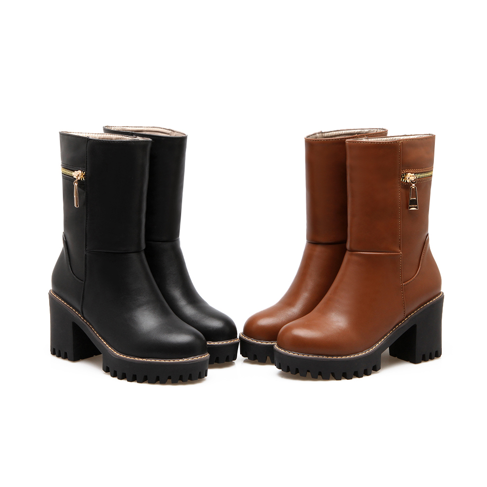 ФОТО Dower Me Women's Martin Boots New Spring Autumn Genuine Leather round toe women boots black brown color D918