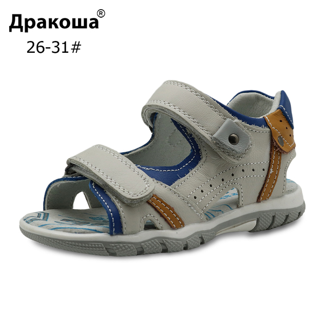 793ecfe9711c1 Apakowa Brand Children s Shoes for Boys Summer Kids Flat Orthopedic Sandals  Genuine Leather Big Kids Shoes with Arch Support
