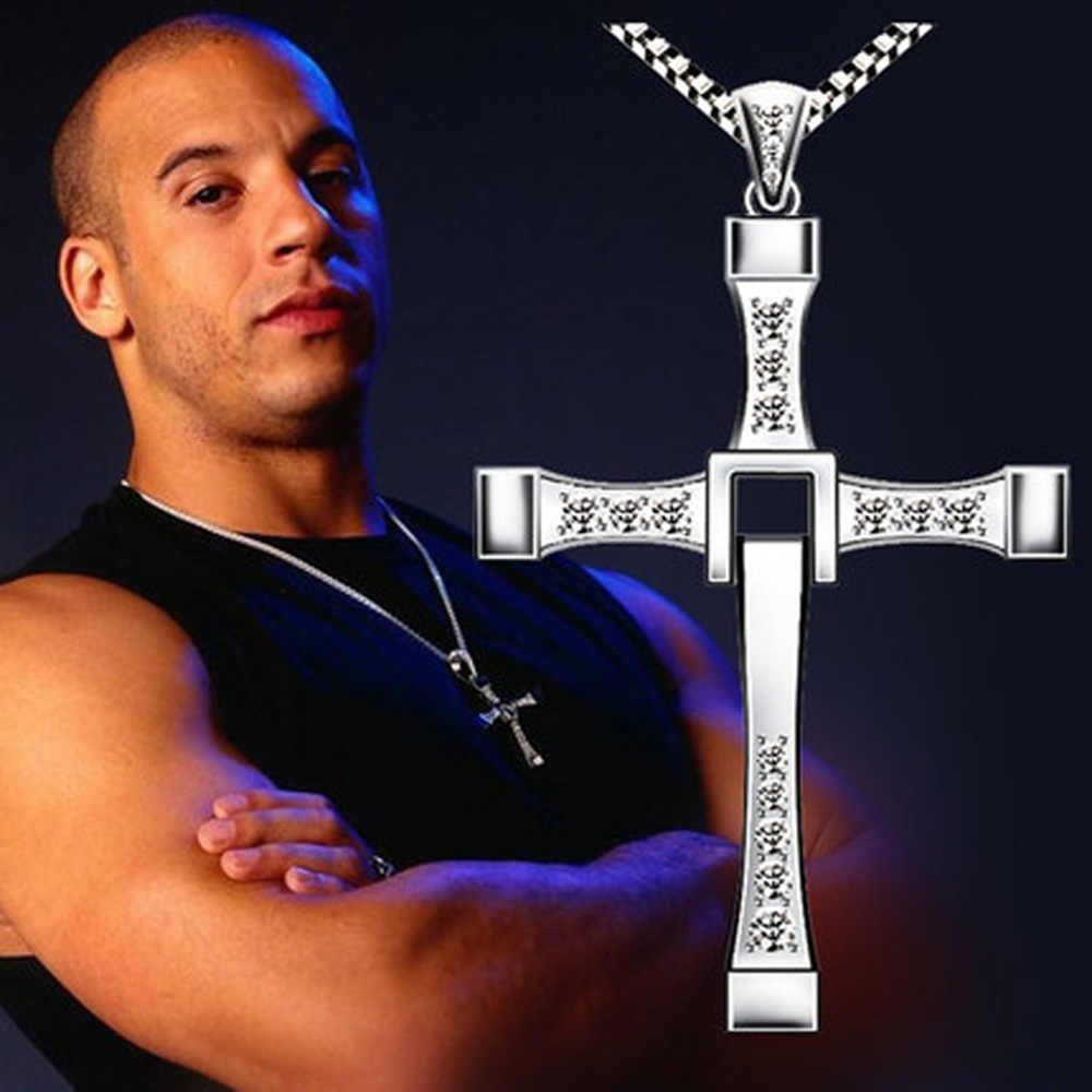 Zkceenier 2018 Necklace The Fast and The Furious Celebrity Vin Diesel Item Crystal Jesus Men Cross Pendant Necklace Gift Jewelry