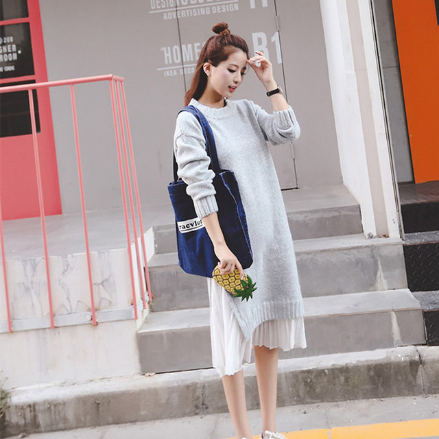 3e16486e4419 2102# 2018 Autumn Winter Korean Fashion Knitted Maternity Sweater Dress  Loose Patchwork Clothes for Pregnant Women NEW Pregnancy