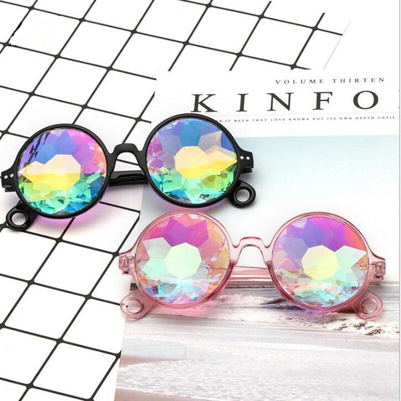 Party Brillen Lustige Fan Disco Mosaik Sonnenbrille Runde Sonne Glas Kristall Psychedelic Kaleidoskop Sonnenbrille Konzert Zeigen Brillen