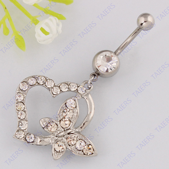 Us 1 76 20 Off Belly Button Ring Heart Butterfly Body Piercing Navel Ring Fashion Lady Belly Bar Jewelry 14g 316l Surgical Steel Bar Taiers On