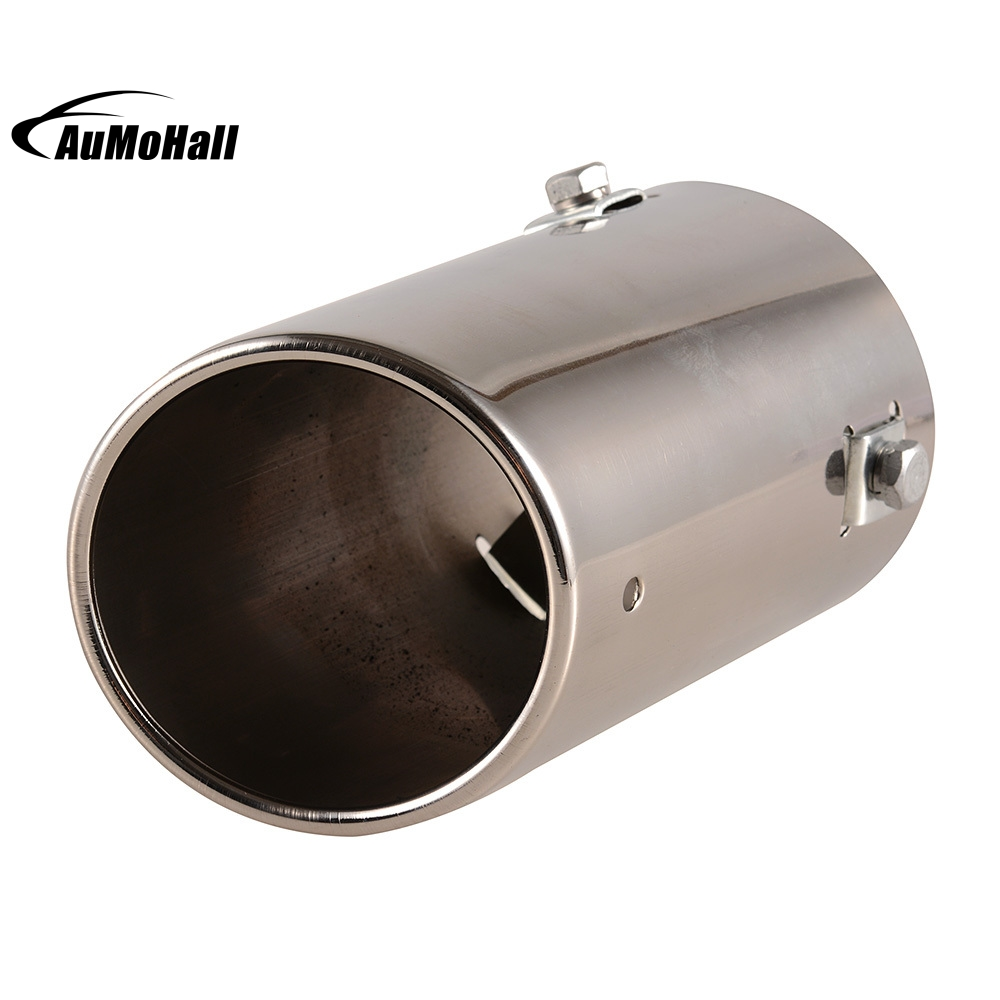 Outside Diameter 7 4cm Universal Fits Car Stainless Steel Chrome Round Tail Muffler Tip Pipe font