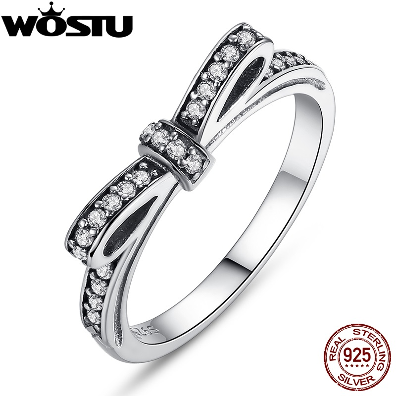 Authentic 100% 925 Sterling Silver Sparkling Bow Knot Stackable Ring Micro Pave CZ Compatible With WOS Jewelry 7104