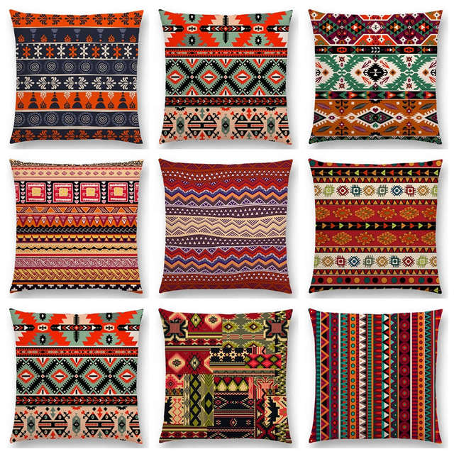 Attrayant Boho Primitive Geometric Pattern National Style Exotic Native Striped Navajo  Arrow Cushion Cover Decor Sofa Throw