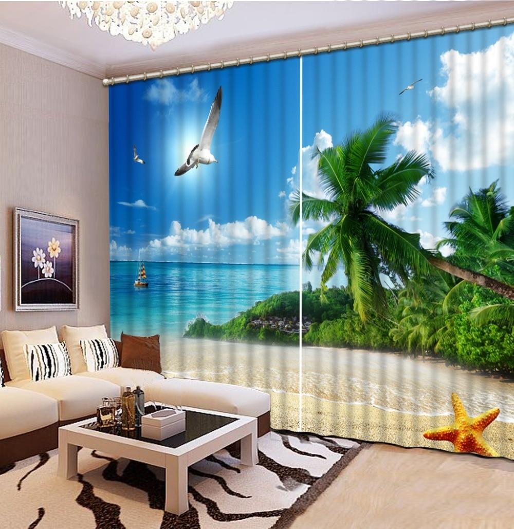 Décoration de la maison 3D rideau soleil, balcon, paysage moderne rideaux pour chambre 3D rideau fenêtre rideaux occultants