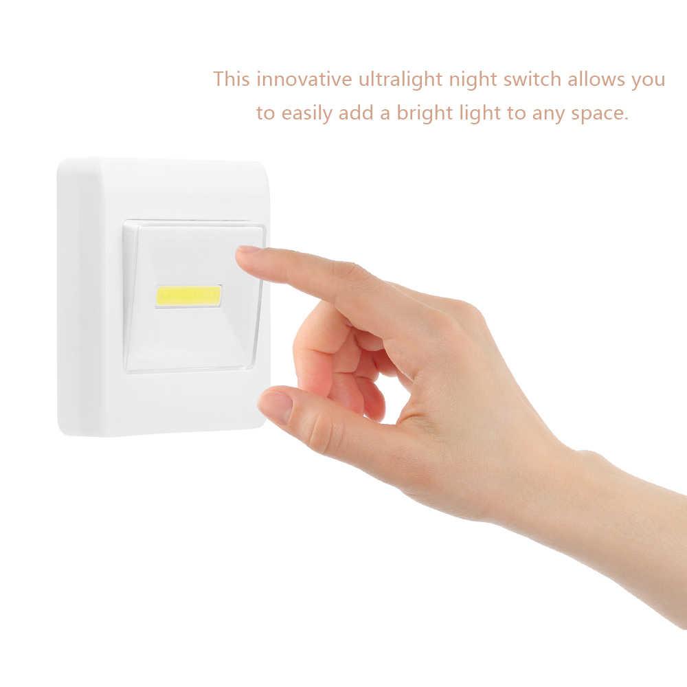 Яркий Магнитный мини-cob LED ночники настенный светильник Беспроводная лампа Батарея выключатель лента-липучка «Magic Tape» для ребенка Спальня
