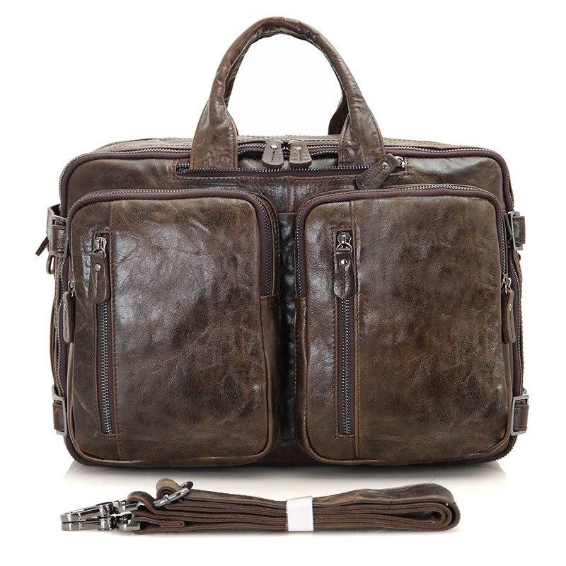 Pour hommes porte-documents fourre-tout en cuir véritable hommes Messenger sacs voyage pochette d'ordinateur d'affaires en cuir de vache sac à bandoulière portefeuille # J7014 - 2