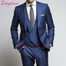 Linyixun Navy Wedding Groomsmen Tuxedos Groom Wear 2018 Classic Style Peaked Lapel Three Piece Business Party Men Suits Jacket P(China)