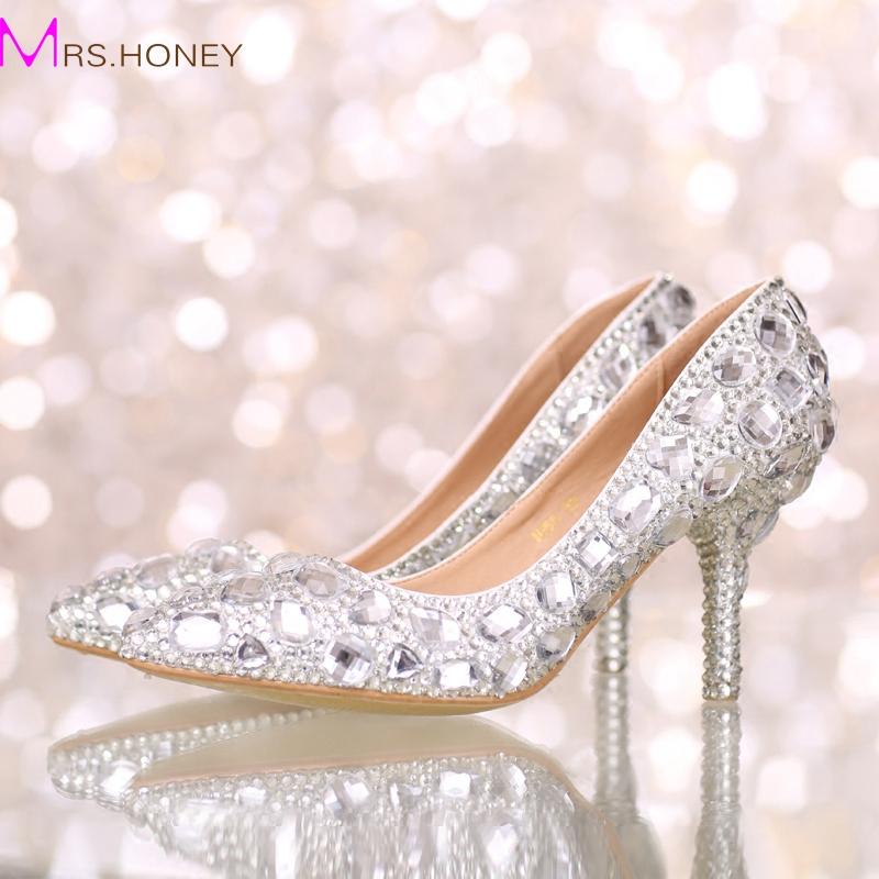 Perfect Bride Crystal Wedding Shoes Pointed Toe New Design Women Pumps Silver Rhinestone New Design Party Prom Heels Big Size love moments wedding shoes bride high heels women pumps pointed toe buckle strap handmade rhinestone crystal party dress shoes